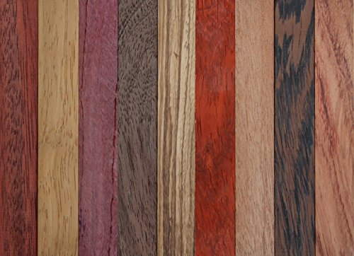 Exotic Wood Pen Blanks 9-Pack: Sapele, Bloodwood, Peruvian Walnut, Padauk, Iroko, Purple Heart, Wenge, Yellow Heart, Zebrawood