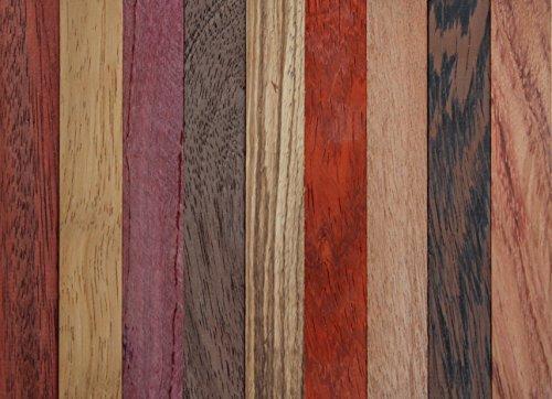 exotic-wood-pen-blanks-9-pack-sapele-bloodwood-peruvian-walnut-padauk-iroko-purple-heart-wenge-yello