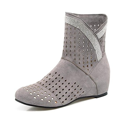 Mujer Moda Botas Bare Gray Casual Boots 2017 Botas Suede Hollow Nueva Respiratorias Botas zwd8I7