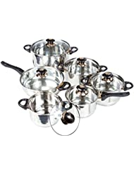 12 Pc Chef s Stainless Steel Cookware Sets - Dutch Oven, Frying Pan, Sauce Pan Cooking Set - Pots and Pans Set