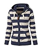 SHIBEL Unisex Long Sleeve Stripe Pocket Zipper Hooded Sweatshirt Coat Blue XS