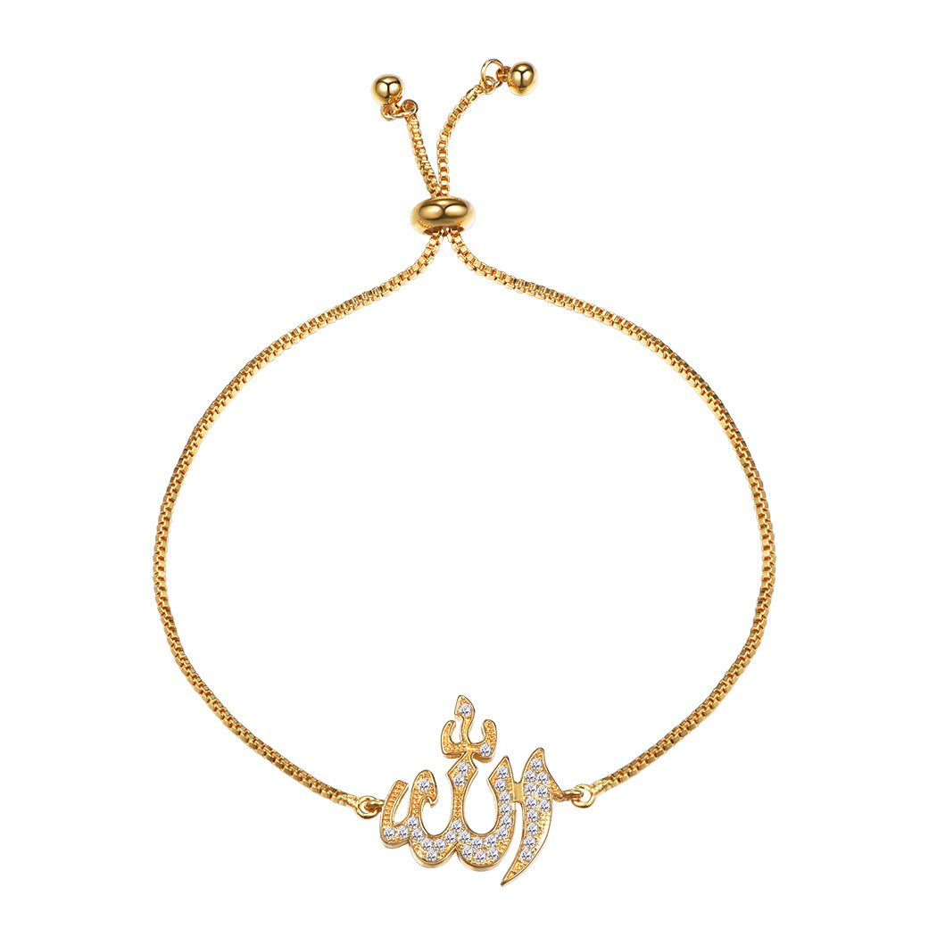 Allah Bracelet Cubic Zirconia Adjustable Muslim Jewelry 18K Gold Plated Allah Charm Bracelet Islamic Gift For Women