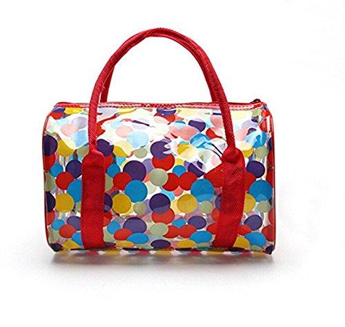 WNOSH Outdoor Waterproof Clear Transparent PVC Cosmetics Bag Cosmetic Organizer Makeup Bag Toiletries Tote Travel Bag (flower red)