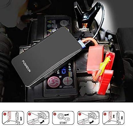 D/émarreur de Voiture 6000mAh 400A Batterie Externe Chargeur pour 2,5L Gaz et Motos avec USB Batterie Portable et Lampe de poche LED Int/égr/ée Rouge