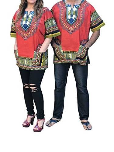 Dashiki Men Women Shirt African Hippie Vintage Top Tribal Blouse Caftan One Size (Red)]()