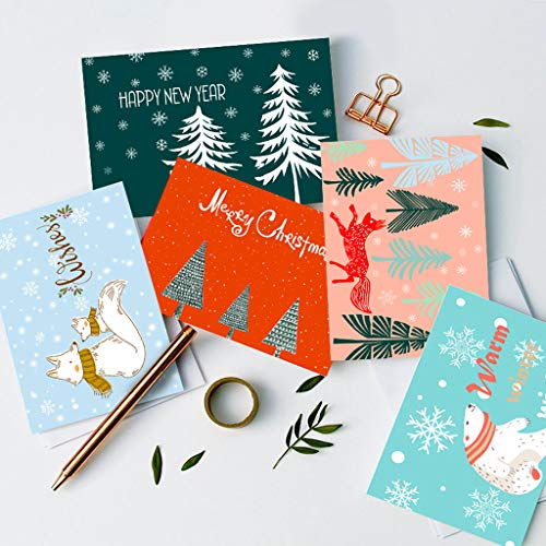 SUPHOUSE Christmas Happy Holiday Family Greeting Cards Boxed Set of 30, 6 Assorted Winter in Snow Festive Color Classy Design Blank On the Inside, Envelopes and Sealing Stickers Included Photo #4