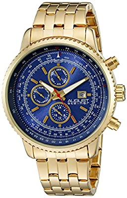 August Steiner Men's AS8162YGBU Yellow Gold Multifunction Quartz Watch with Blue Dial and Yellow Gold Bracelet