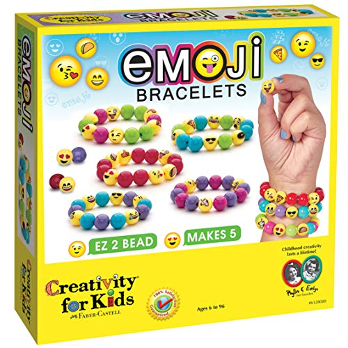 Creativity for Kids Emoji Bracelets - Emojis for Kids - Makes 5 Emoji Bead Bracelets 1 Fan Spinner Necklace