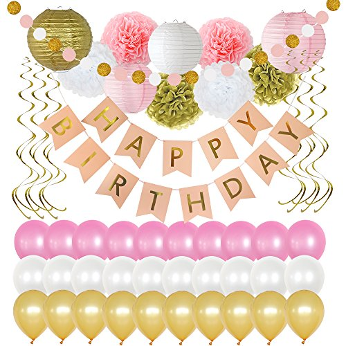 (Birthday Party Decorations 49 Piece kit - Gold and Pink Party Supplies and Favors for Kids - Happy Birthday Banner, Balloons, Pompoms, Paper Lantern, Glitter Garland, Swirl – by Yana's)