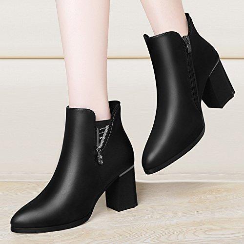 Zapatos De KPHY Mujer Damas Estilo Botas Todo Partido Vintage Tacón Británico Martin Zapatos Mujer black Korean qqn8v1r
