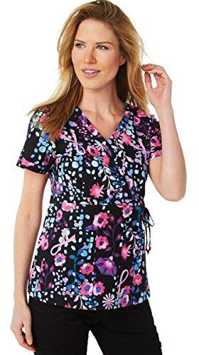 Print Wrap Top (Koi Prints Women's Kathryn Mock Wrap Floral Print Scrub Top Small Print)