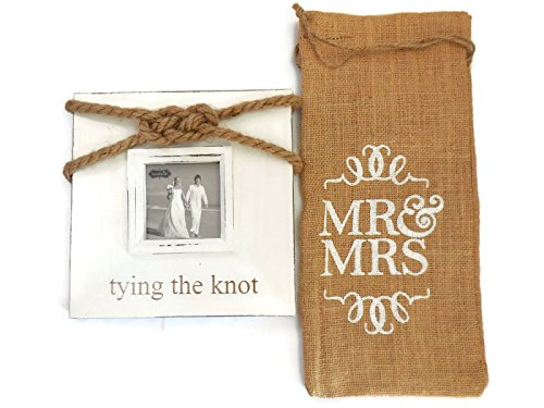 Mud Pie Mr. and Mrs. Burlap Wine Bag Bundle with Mud Pie Tying The Knot Frame. Best Bridal Shower Party Gifts, Wedding Gift Ideas, Bachelorette Party Gifts
