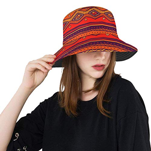 (African Art Tribal Print Unisex Boonie Safari Fishing Bucket Hat)