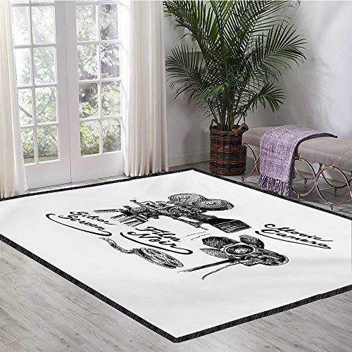 Movie Theater, Area Rug Kids Room, Cinematography Themed Artwork with Old Camera and Equipment Silver Screen, Children Kids Nursery Rugs Floor Carpet 6x7 Ft Black - Screen Rug Kids Silver