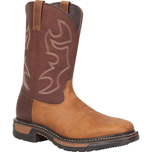 Rocky Original Ride Mens Saffron Brown Leather Steel Toe Cowboy Boots SMP M (Rocky Square Ride)