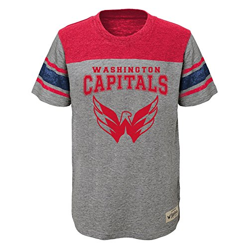 NHL Washington Capitals Youth Boys Heritage Short Sleeve Tee, Medium(10-12), Heather Grey
