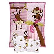 Little Bedding by NoJo Little Monkeys 3 Piece Porta Crib/Mini Crib Nursery Bedding Set - Comforter, 2 Sheets