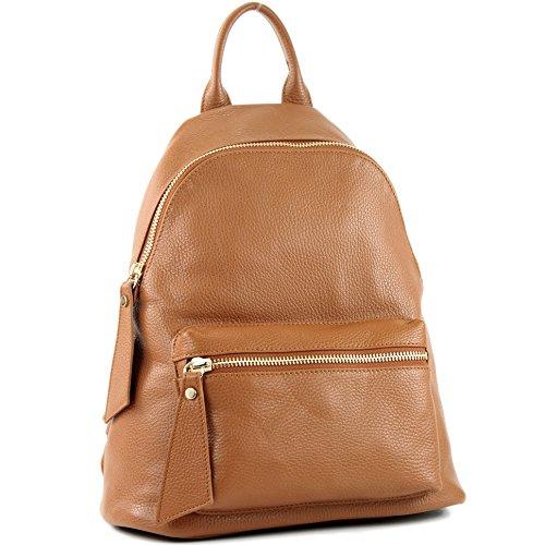 Damenrucksack cuir sac en de Farbe Cognac modamoda nur T171A Farbe Ital Präzise EqX7R