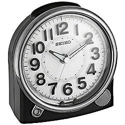 Seiko 'Bedside' Plastic Alarm Clock, Color:Black (Model: QHE143JLH)