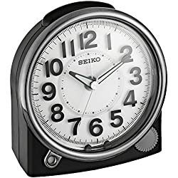 Seiko ' Bedside Alarm' Plastic Clock, Color:Black (Model: QHE143JLH)