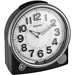 Seiko ' Bedside Alarm' Plastic Clock, Color:Black (Model: QHE143JLH)