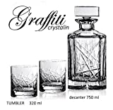 BOHEMIA CRYSTAL GLASS WHISKEY SET 1+6 ''Graffiti'' DECANTER 26oz + 6 OLD FASHIONED ROCKS GLASSES 10oz BOURBON SCOTCH COGNAC BRANDY CLASSIC VINTAGE DESIGN CZECH CRYSTAL GLASS