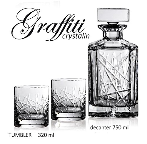BOHEMIA CRYSTAL GLASS WHISKEY SET 1+6 ''Graffiti'' DECANTER 26oz + 6 OLD FASHIONED ROCKS GLASSES 10oz BOURBON SCOTCH COGNAC BRANDY CLASSIC VINTAGE DESIGN CZECH CRYSTAL GLASS by AURUM