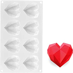AICHEF Akov 8 Diamond Heart-Shaped Love French Chocolate Baking Silicone Rubber Moulds For Muse Chocolate Cake Silicone Mold For Baking Chocolate Mousse Cake Dessert Molds.Eight Diamond Hearts Molds.