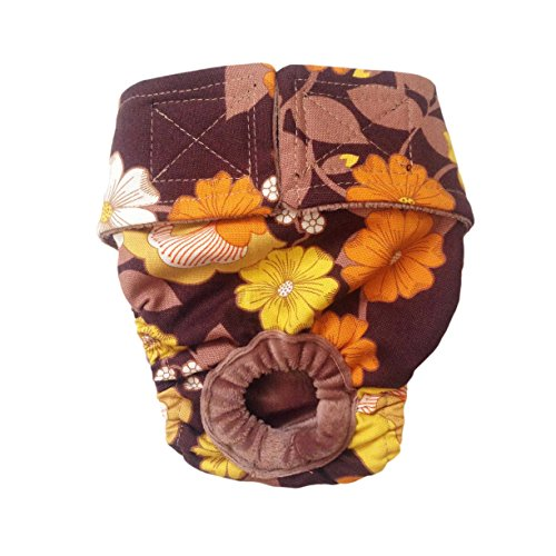 Dog Diapers - Made in USA - Brown and Yellow Flowers Washable Dog Diaper for Incontinence, Housetraining and Dogs in Heat free shipping