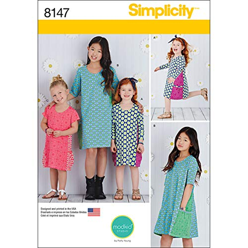 (Simplicity Pattern 8147 Child's and Girls' Knit Dresses From Mod Kid Studio, HH (3-4-5-6))