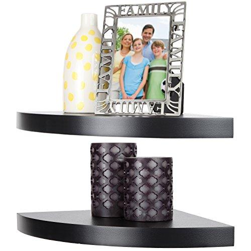 Arad Black Laminate Large Radial Corner Wall Shelf Set of 2 (Black Wall Corner Shelf Unit compare prices)