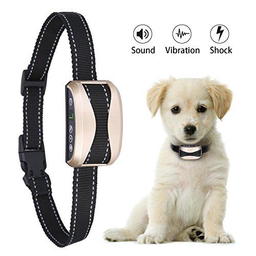 AuAg Bark Collar Adjustable 7 Sensitivity 3 Modes Rechargeable Rainproof No Bark Training Collar Humane Shock Vibration Modes for Small Medium Large Dogs Anti-Bark Collar Lighting Deal until 11 PM -