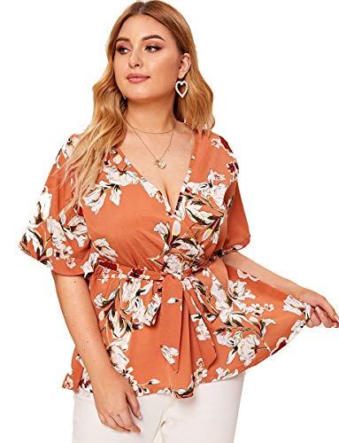 - Romwe Women's Plus Size Floral Print Short Sleeve Belt Tie Peplum Wrap Blouse Top Shirts Orange 2XL