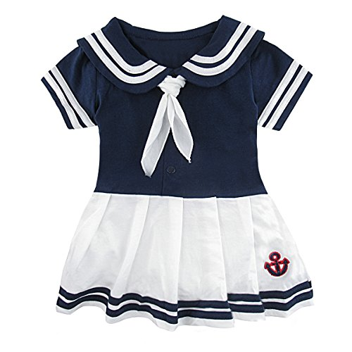 Mombebe Baby Toddler Girls' Sailor Dress Bodysuit (12-18 Months, Royal (Royal Fancy Dress Ideas)