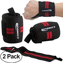 "Comsun Wrist Wraps, 2 Pack 18.5"" Adjustable Weightlifting Wrist Support Gym Fitness Wrist Brace Strap With Thumb Loops for Sports Protection Weight Lifting Pad"