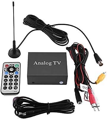 Kit de receptor de DVD para coche, Receptor de TV digital de DVD móvil para coche, Caja fuerte de señal de sintonizador de TV analógica con control remoto de antena: Amazon.es: Coche