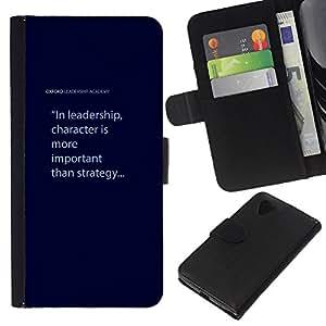 KingStore / Leather Etui en cuir / LG Nexus 5 D820 D821 / Texte bleu Citer