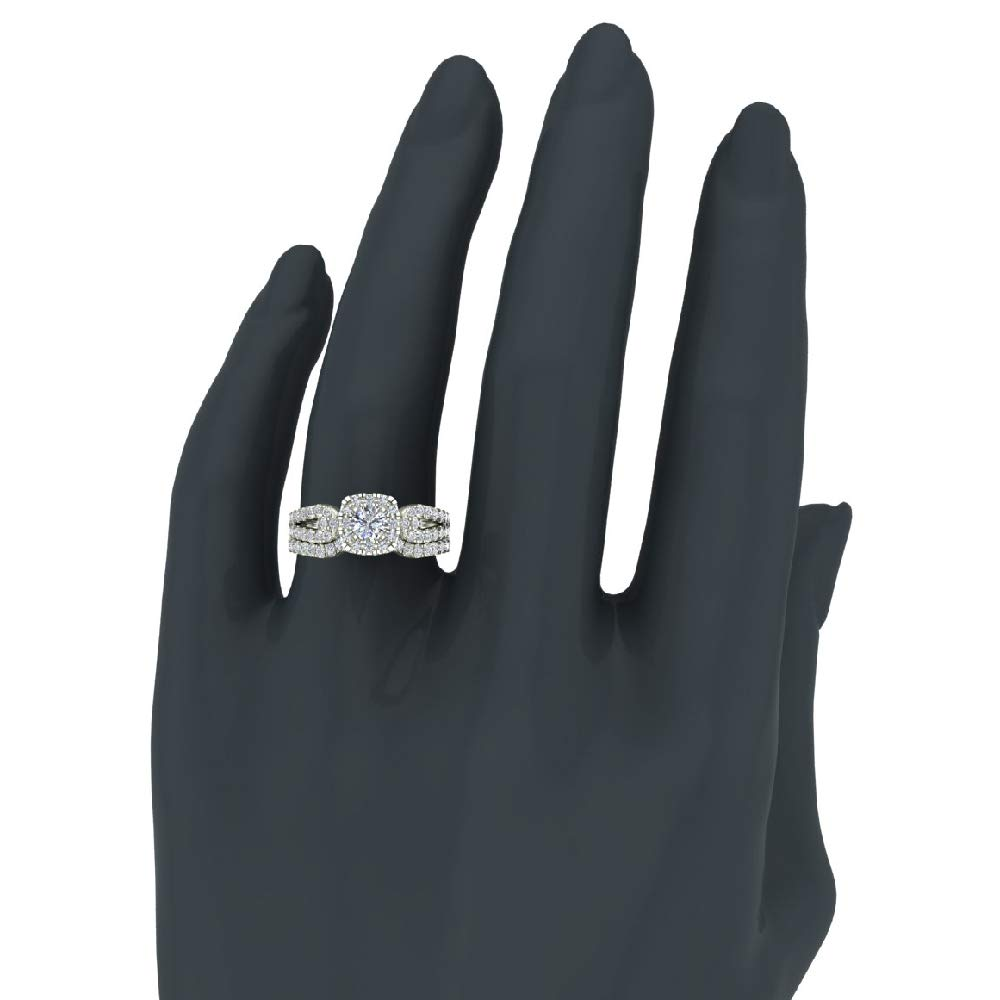 Diamond Loop Shank Cushion Shape Wedding Ring Set 1.05 Carat Total Weight 14K White Gold (Ring Size 5.5) by Glitz Design (Image #2)