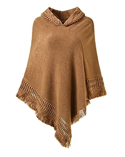 (SUNNYME Women Solid Color Poncho Hooded Fringes Crochet Shawl Capes Cover Up Cardigan Camel One Size)