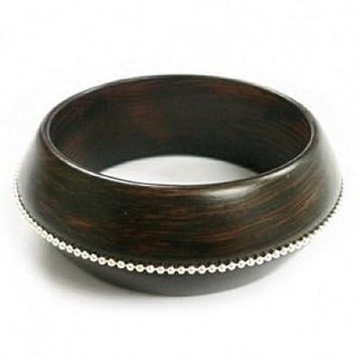 433f6af2e32 Dark Wood Bangle with Silver Trim - Chunky Wood Statement Fashion Bangle:  Amazon.co.uk: Jewellery