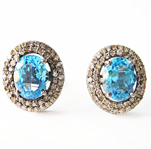 Blue Stone Solitaire Style Stud Rose Cut Natural Pave Diamond 925 Sterling Silver Earrings Handcrafted Antique Finish Jewelry