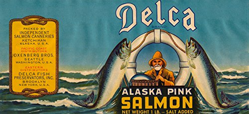 Delca Brand Salmon Label - Seattle, WA - Blue (24x36 SIGNED Print Master Giclee Print w/Certificate of Authenticity - Wall Decor Travel Poster)