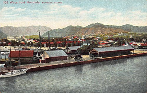 Postcard Waterfront Shipping Scene in Honolulu, Hawaiian Islands - Waterfront Shops In