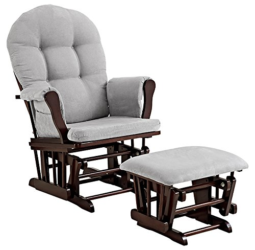 Angel Line 61311-49 Windsor Glider and Ottoman, Espresso with Cushion, Gray, Espresso with Gray