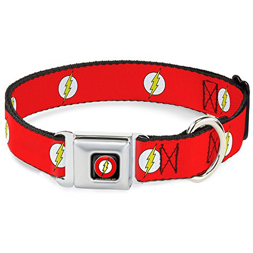 (Dog Collar Seatbelt Buckle Flash Logo Red White Yellow 9 to 15 Inches 1.0 Inch Wide )