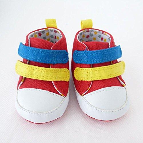 NEU | Mädchen Jungen Schuhe Hausschuhe | rot bunt mit Sternen | 0 bis 12 Monate 3-6 Monate