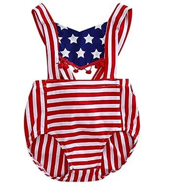 Newborn Baby Boy Girl 4th July American Flag Pompom Bodysuits One Pieces Summer Romper