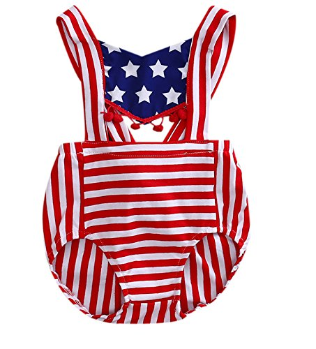 Newborn Baby Boy Girl 4th July American Flag Pompom Bodysuits One Pieces Summer Romper (12-18 Months, Red)