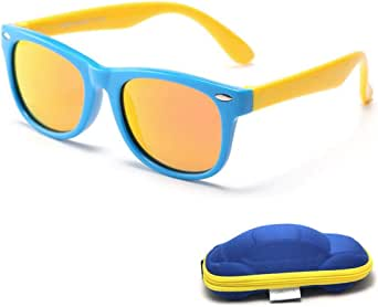 Kids Polarized Sunglasses Sports Sun For Boys And Girls Mirrored Lens - yellow and blue