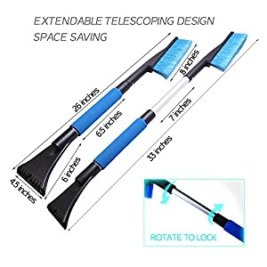 "FONY Leistung Series Extendable 33"" Telescoping Snow brush Ice Scraper with Foam Grip for SUVs, Cars, Trucks and Vans"